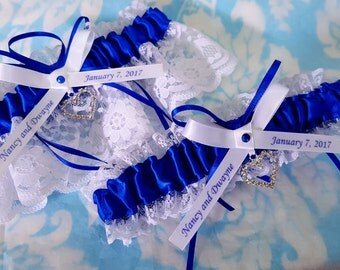 Blue and white Satin and lace Personalized Wedding Garter Set , Royal blue and white or ivory lace with crystal  heart