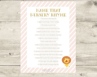 Name that Nursery Rhyme Baby Shower Game Printable Instant Download