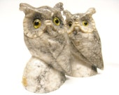 Two Vintage Marble Owls Bookends Decor Gray Stone Horned Owls