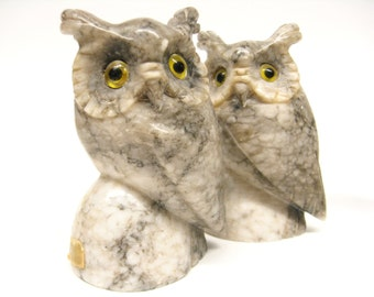 Two Vintage Marble Horned Owls Bookends Decor Gray Stone
