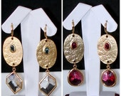 READY FOR SPRING Sale: Ashira Gold Drop Earrings with Fuchsia or Clear Crystal Stones - One-Touch Hoop
