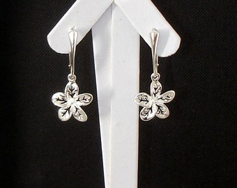 SHOP CLOSING SALE: Ashira Silver Hawaiian Plumeria Drop Earring