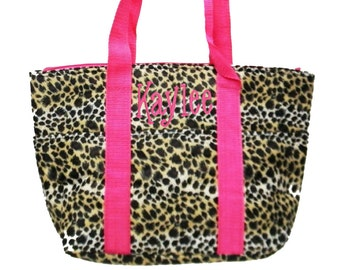 Personalized Insulated Lunch Tote Cheetah / Leopard Print Pink Trim