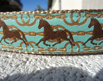"""Trotting Horse Dog Collar 1"""" wide Side Release buckle or Martingale collar adjustable - see 1.5"""" width link within"""