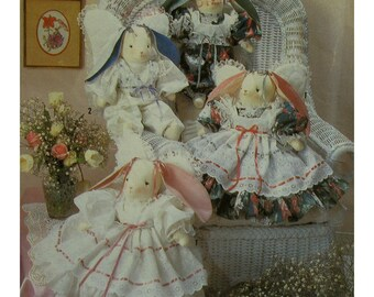 "Lace Trimmed Bunnies Pattern, Stuffed Rabbits, Angel Wings, Old-Fashioned Dresses, Simplicity No.7044 Size 18"" (45.5cm) High"