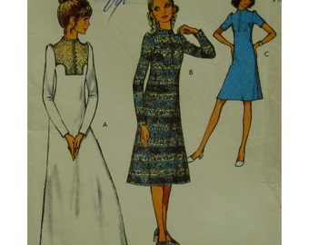 """70s Yoked Dress Pattern, High Neck, A-line Skirt, Long/Short Sleeves, Front Buttons, Style No. 3055 Size 14 (Bust 36"""" 92cm)"""