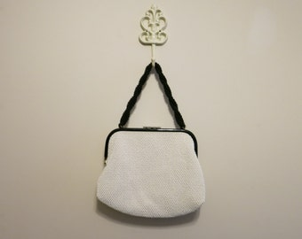 Beaded Purse black white color block 1950s vintage reversible plastic pinup handbag