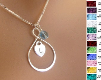 Sterling Silver Infinity Pendant Personalized Necklace Womens Jewelry Gift Forever Symbolic