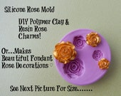 Silicone Rose Mold Fondant Gumpaste Polymer Clay Resin Wax Soap Embed DIY Cabochon Molds