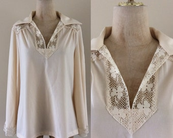 1970's Cream Polyester Crochet Top w/ Bell Sleeves