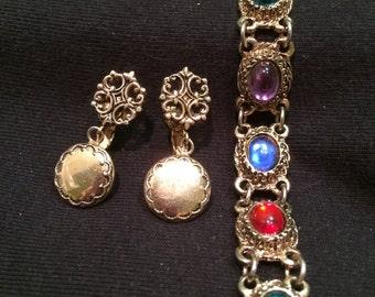 Elizabethan Tudor Jewelry-Vintahe Earrings and Jewel Tone Bracelet-Carolingian