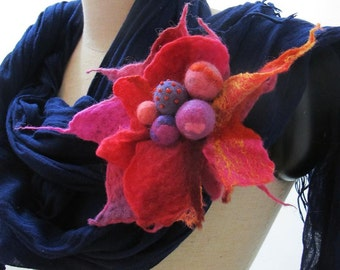 Felted flower brooch pin  beaded  L size