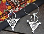Moroccan Berber Tuareg style inspired hoops earrings dangling replic elements Vintage look Bohemian earrings by Inali