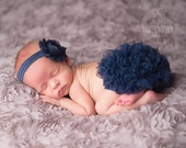 Navy Chiffon Ruffle Bloomer and Shabby Chic Headband Set, Navy Baby Bloomer, Newborn Photo Prop, Baby Girl Bloomer, Baby Bloomer Set