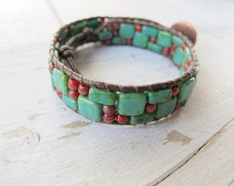 Bohemian Bracelet, Beaded Wristband, Hippie Bijoux, Czech Picasso Glass, Festival Fashion, Coachella Style, Tribal Gypsy, Turquoise Green