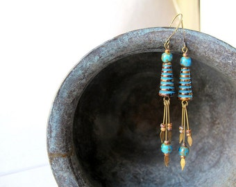 Long Blue Dangle Earrings, Bohemian Turquoise Hive Dangles, Czech Picasso Glass Jewelry, Boho Beach Chic Earrings. Summer Festival Fashion
