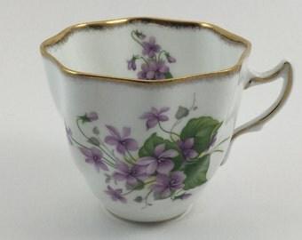 Vintage Rosina Bone China Tea Cup Made in England Purple Violets Flowers