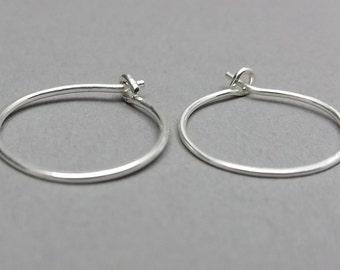 Small Sterling Silver Hoops, 3/4 inch Hoops, Minimalist Earrings, Classic Earrings