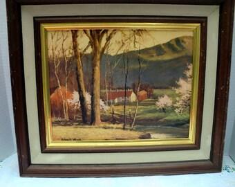 Vintage Framed oil painting print