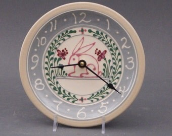 Small Stoneware Clock Pink Bunny  Design  with Red  Pink and Green Accents