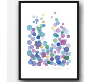 Original watercolor painting - dots painting -abstract watercolor purple blue dots  abstract painting -