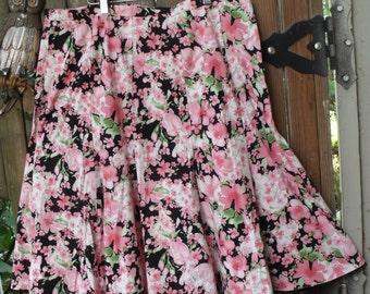 Size 18 Retro Black Pink Skirt/ Plus Size Cotton Spandex/ 10 Gore Flare Hem Skirt/ Shabbyfab Funwear