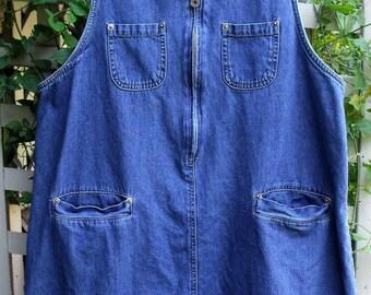 Denim Mini Jumper/ Retro denim Tunic/ Washed, Faded Denim Mini/ Sheerfab Funwear