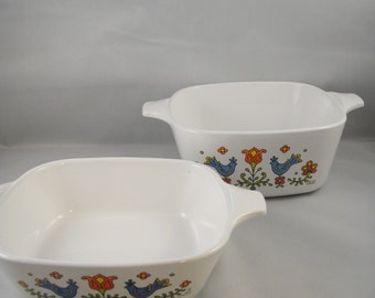 Corning Country Festival Pattern Two Small Baking Dishes