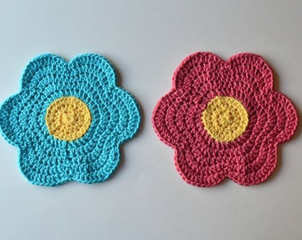Crochet Flower Dishcloths, Set of 2, Customizable Colorful Wash Rags, Trivets, Table Decoration, Perfect for Spring & Summer, Mother's Day