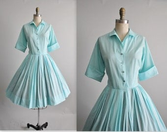 50's Shirtwaist Dress // Vintage 1950's Robins Egg Blue Cotton Garden Party Shirtwaist Dress M L