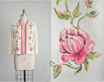 60's Rose Print Cardigan // Vintage 1960's Pink Green Floral Print Orlon Cardigan Sweater M
