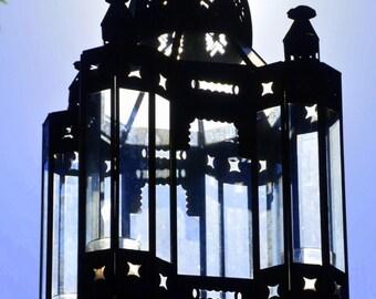 Vintage Tin Glass Lantern: Large Hanging or Standing Metal Candle Holder -- Moroccan / Craftsman Style Light / Lamp / Sconce