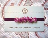Plum Baby Flower Crown - Magenta Baby Flower Crown - Newborn Flower Crown - Newborn Headband - Baby Headband - Flower Girl Headband - Purple