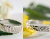 White Gold Ash and Bark Wedding Bands: A Set of his and hers 9k White Gold wedding rings