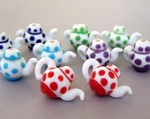 5 pairs teapot beads, lampwork glass, multicolor teapots, cobalt blue, green, turquoise, purple and red polka dot tea pot beads