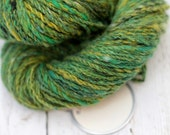 "hand dyed yarn Cashmere handspun ""Mixed Greens"" worsted 2 ply knitting yarn Mallory blue, purple, gray"