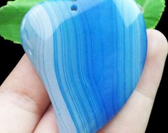 Agate Blue Heart Slice