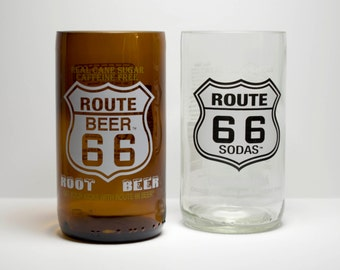 Route 66 Root Beer Cream Soda Bottle Drinking Glasses Tumblers mixed set