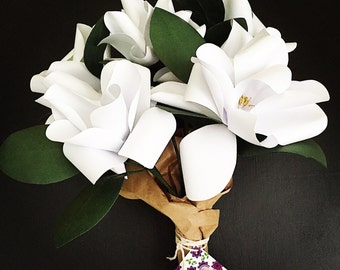 Paper Magnolia Bouquet - Includes 7 Magnolias on Stem and 1 Stem of Leaves