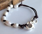 Leather and Pearl Bracelet, Freshwater Pearls, Dark Brown Leather, Double Strand, Large Hole Pearl, Etsy, Etsy Jewelry