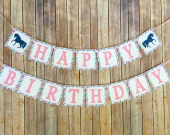 horse party banner, horse birthday banner, pink and navy birthday banner, plaid birthday banner