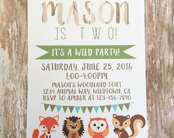printable woodland creature invitations, digital woodland creature birthday invites, fox birthday party, printable boy birthday invitation