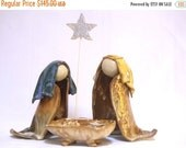 PRE-CHRISTMAS SALE Nativity Trio in Bright Blue and Straw Plus Manger