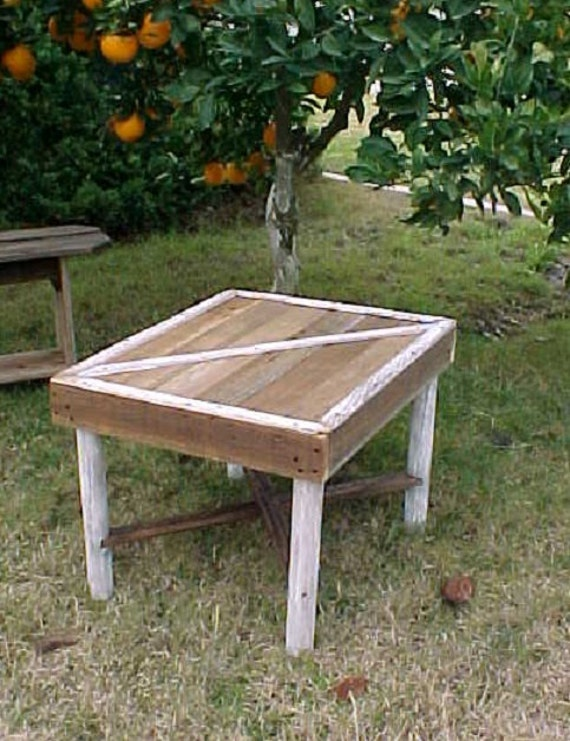 Table, Small BARN DOOR Style Side Table, Country Primitive Side Table, Summer SALE, White Legs Trim Accents, Outdoor Furniture, Patio Table!