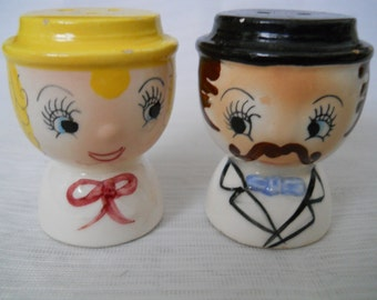 Mr. and Mrs. Salt and Pepper Shakers - vintage, collectible