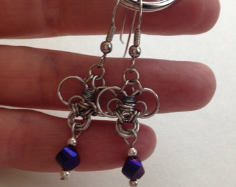 Chainmaille heart shape metallic purple Dangle earrings, Chainmaille, Chain mail, Dangle Earrings,unique earrings
