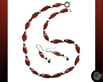 """23"""" Necklace Twisted Red Carnelian Stones Round Black Onyx Stones Brushed Sterling Silver Cubes And/Or Matching Sterling Silver Earrings"""