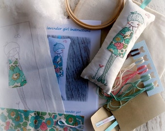embroidery kit turquoise lavender girl