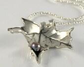 Maple Leaf Necklace Gift  For Women Leaf Jewelry, Autumn Leaf Necklace in Sterling Silver, Leaf Pendant, Leaf Necklace June Birthstone