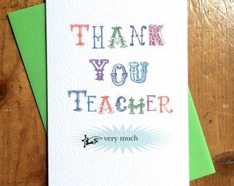 Thank You Very Much Teacher Thank You School card